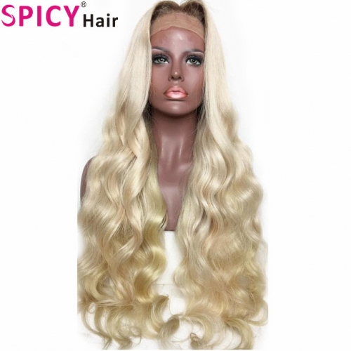 Spicyhair 150% density dark root grey color bodywave full lace wig