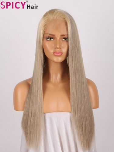 Spicyhair remy human hair grey golden straight full lace wig ash blonde