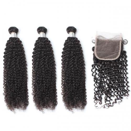Spicyhair 3 kinkycurly Bundles with 1 piece 4×4 lace closure