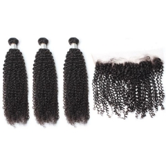 Spicyhair DHL free shipping 3 kinkycurly Bundles with 1 piece 13×4 lace frontal