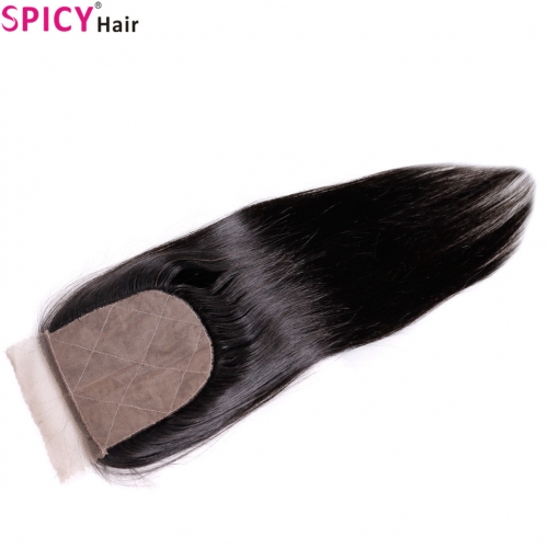 Spicyhair Tangle free Top Quality straight  4×4 Silk Base closure