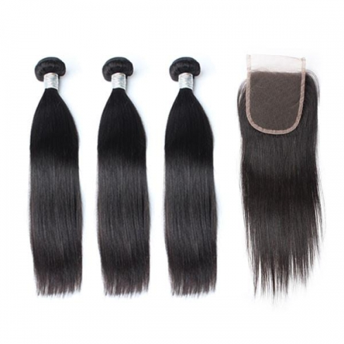 Spicyhair 3 straight Bundles with 1 piece 4×4 lace closure