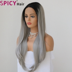 Spicyhair natural looking dark root grey natural wave lace front wig