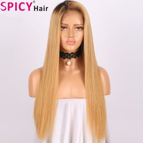 Spicyhair inexpensive dark root #27color straight lace front wig