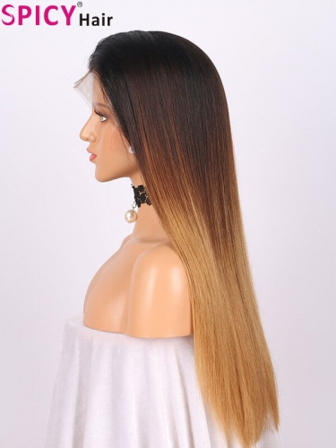 Spicyhair real human hair Ombre straight lace front wig