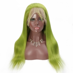 Spicyhair good looking color human wigs green Straight lace front wig