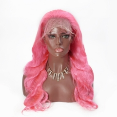 Spicyhair good cheap Pink body wave lace front wig
