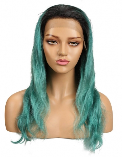 Spicyhair natural looking free dark root dark green Body Wave lace front wig