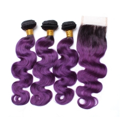 Spicyhair dark root purple color 3 bodywave Bundles with 1 piece 4×4 lace closure