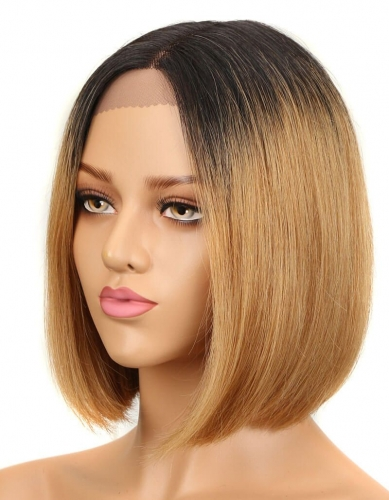 Spicyhair 180% density good looking dark root #27 color straight bob lace front wig
