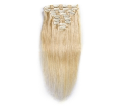 100%  Good looking #613 blonde human straight clip-in hair extensions.