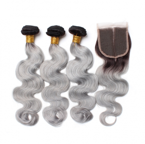 Spicyhair dark root grey color 3 bodywave Bundles with 1 piece 4×4 lace closure