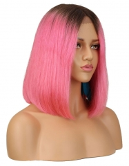 Spicyhair 180% density Lovely dark root pink color human hair straight bob lace front wig