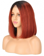 Spicyhair 180% density Natural looking 1b/#350 color straight bob lace front wig