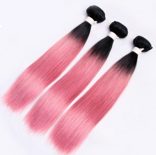 Spicyhair 100% Shipping Free by DHL Lovely Looking darkroot pink Straight human hair One Bundle