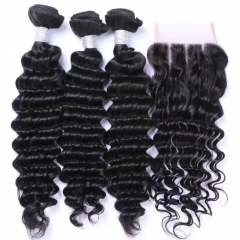 Spicyhair  100% human hair deepwave 3 Bundles with 1 piece 4×4 lace closure