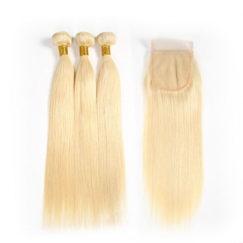 Spicyhair  #613 blonde color 3 straight Bundles with 1 piece 4×4 lace closure
