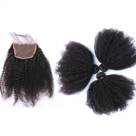 Spicyhair  100% human hair afro kinkycurly 3 Bundles with 1 piece 4×4 lace closure