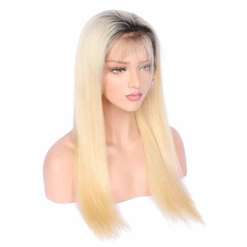 Spicyhair 150% density Good Quality dark root #613color straight full lace wig