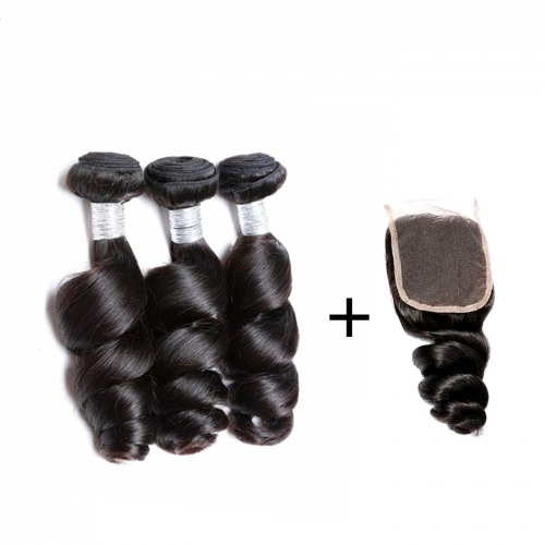 Spicyhair 100% human hair 3 loosewave Bundles with 1 piece 4×4 lace closure