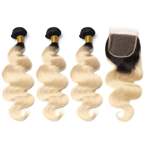 Spicyhair Natural Looking dark root #613 color 3 bodywave Bundles with 1 piece 4×4 lace closure