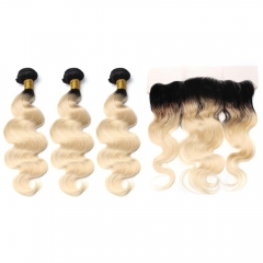Spicyhair Top Quality 100% human hair Natural Looking dark root #613 3 Body Wave Bundles with 1 piece 13×4 lace frontal