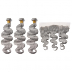 Spicyhair High Quality 100% human hair grey color hair 3 Body Wave Bundles with 1 piece 13×4 lace frontal