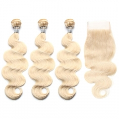 Spicyhair 10A  #613 blonde color 3 Body WaveBundles with 1 piece 4×4 lace closure