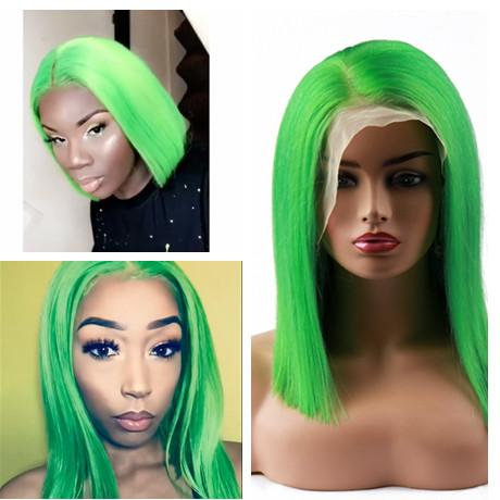 Spicyhair 180% density Hot Selling Popular bob wig green color Straight bob lace front wig
