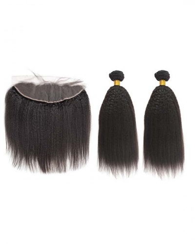 Spicyhair Top Quality 100% Human Hair Selling directly from Factory 2 Kinky Straight  Bundles with 1 piece 13×4 lace frontal