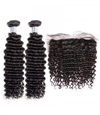 Spicyhair Top Quality Hair Selling directly from Factory 2 deepwave Bundles with 1 piece 13×4 lace frontal