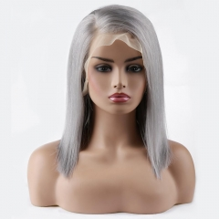 Spicyhair 180% density  Glueless Popular bob wig Grey color Silky Straight bob lace front wig 100% human hair