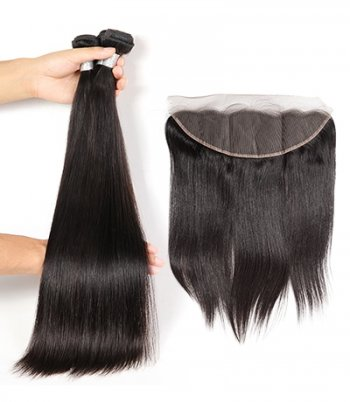 Spicyhair High Quality 100% Human Hair Selling directly from Factory 2 Straight  Bundles with 1 piece 13×4 lace frontal