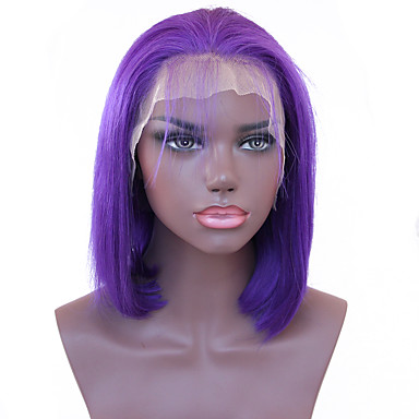Spicyhair Good Quality Best Selling Glueless Popular bob wig Purple color Straight bob lace front wig 100% human hair Selling Directly from Factory