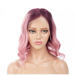 Spicyhair Best Quality with Good Price Fashion Looking 99J root pink color human hair wavy bob lace front wig
