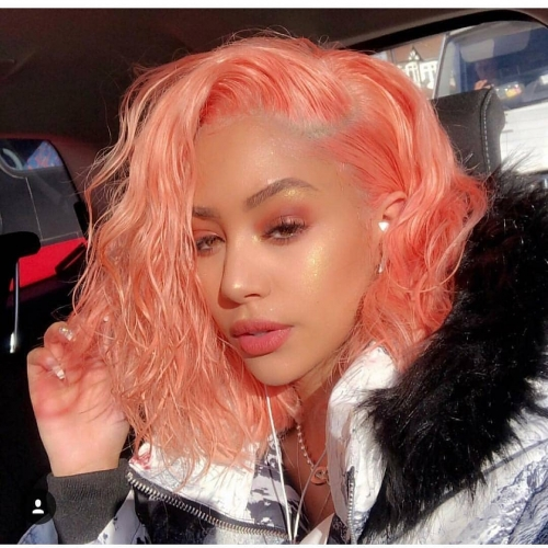 Spicyhair 180% density Fashional Looking bob wig light orange color Bodywave bob lace front wig blingbling wig selling directly from Factory