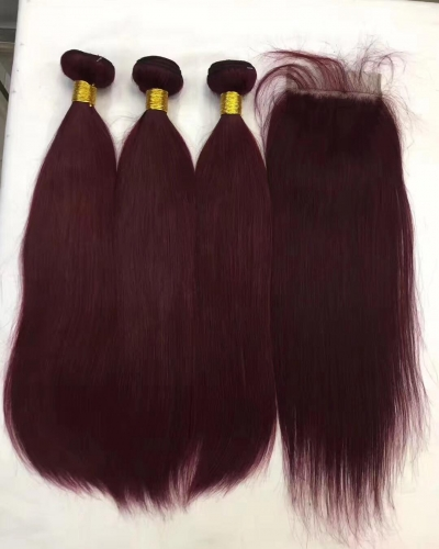 Spicyhair 99J color 3 straight Bundles with 1 piece 4×4 lace closure