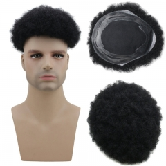 Spicyhair best quality Human Hair Afro Curly Mens Toupee Hairpiece Wig Base with Hard PU Reforced Color #1B Black