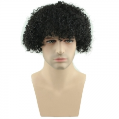 Spicyhair best quality Afro Kinky Curly Short Wig 100% Brazilian Remy Human Hair 130% Density Short Wig Toupee Hairpiece for Men (Black)