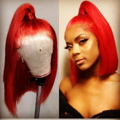 Spicyhair 180% density Lovely Looking blunt cut bob wig Red color Straight bob lace front wig