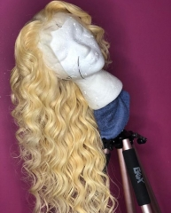 Spicyhair 150% density #613 Blonde Wavy full lace wig transparent lace gluelesss wig Best Quality with good price selling directly from Hair factory h