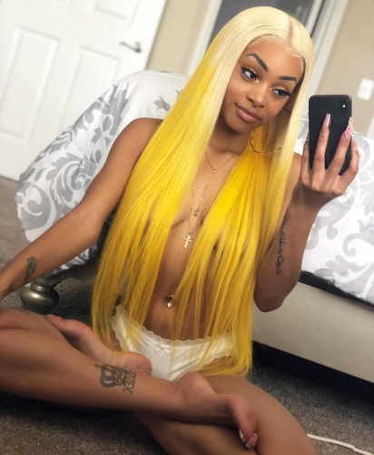 Spicyhair 150% density Good Quality Fashional Looking Umbre #613 yellow color Straight full lace wig new arrival hot sale dh lace wig