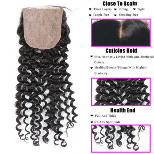 Spicyhair 10A Top Quality Deep Wave  4×4 Silk Base closure tangle free cheap human hair for black women