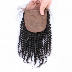 Spicyhair 10A Top Quality Kinky Curly  4×4 Silk Base closure tangle free cheap human hair for black women