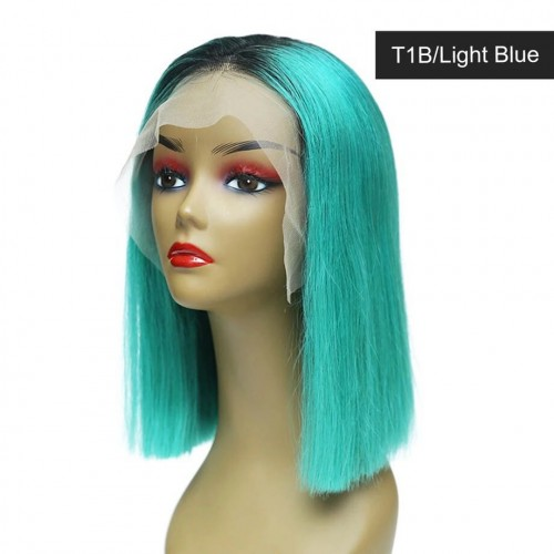 Spicyhair Tangle Free Good Looking T1B Light Blue color  Straight bob lace front wig Best Quality 100% real human hair wigs