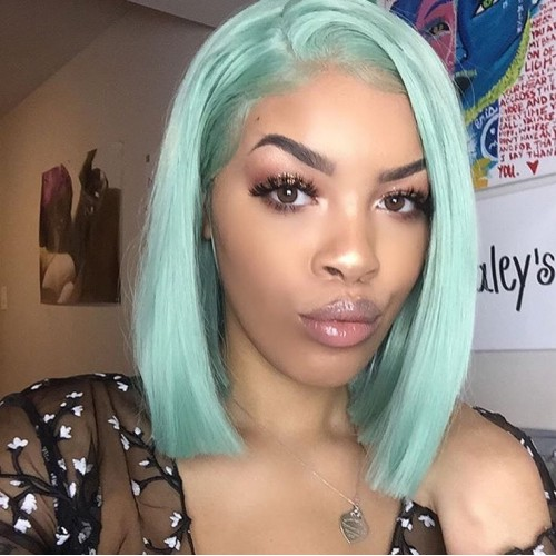 Spicyhair 180% density Best Quality blunt cut bob wig Light Green Straight bob lace front wig 100% human hair