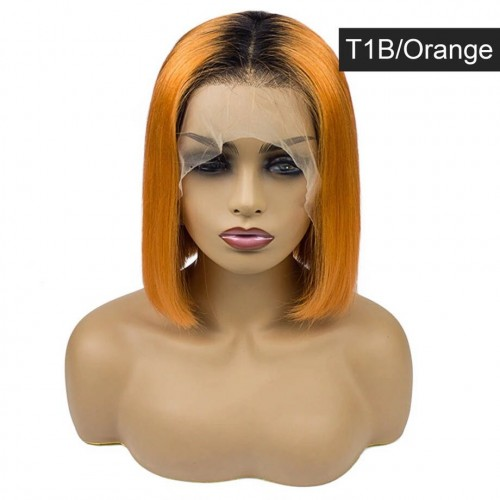 Spicyhair Popular Fashion Looking T1B Orange color  Straight bob lace front wig Best Quality 100% real human hair wigs