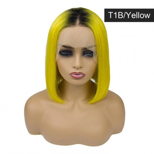 Spicyhair Best Quality real human hair Popular Fashion Looking T1B Yellow color  Straight bob lace front wig