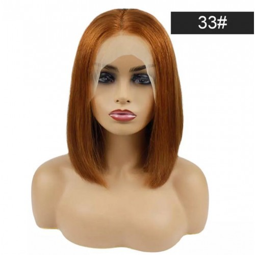Spicyhair 180% density Top Quality blunt cut bob wig #33 color  Straight bob lace front wig 100% human hair