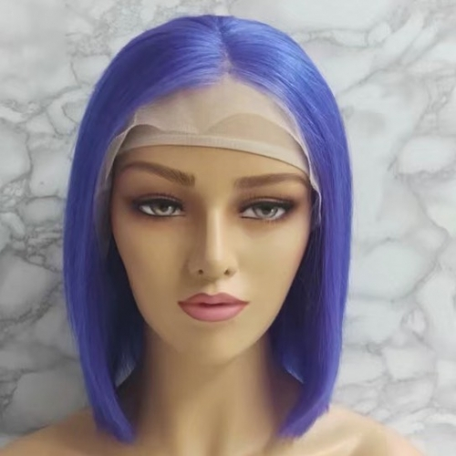 Spicyhair 100% human hair 180% density Best Quality blunt cut bob wig Blue Straight bob lace front wig